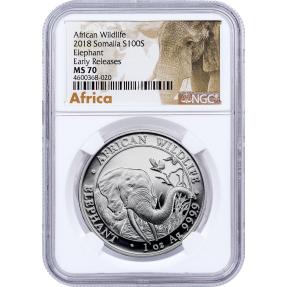 現貨 - 2018索馬利亞-象-1盎司銀幣-NGC MS70鑑定幣-Early Release版-非洲象標籤