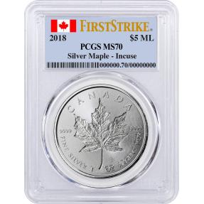 現貨 - 2018加拿大-楓葉-凹陷版-1盎司銀幣-PCGS MS70鑑定幣-First Strike版