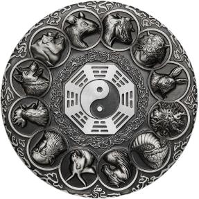 現貨 - 2019吐瓦魯-十二生肖-八卦太極大轉盤-5盎司銀幣(普通版)