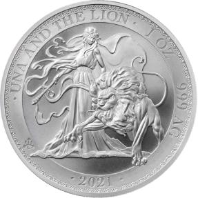 預購(確定有貨) - 2021聖凱倫拿島-烏納與獅子-1盎司銀條(普鑄)