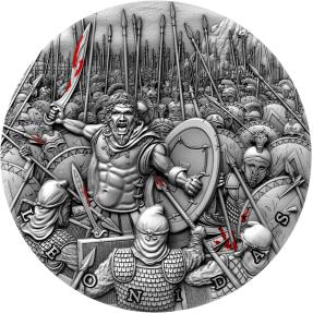現貨 - 2019紐埃-偉大的指揮官系列-溫泉關戰役-列奧尼達一世-2盎司銀幣