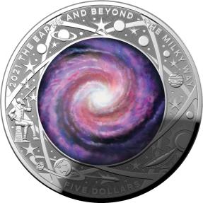 現貨 - 2021澳洲皇家-地球與超越系列-銀河系-凸面造型-1盎司銀幣