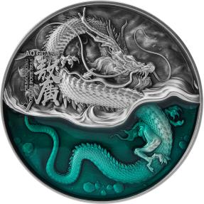現貨 - 2021查德-四海龍王系列-東海龍王(青龍)-敖廣-(2盎司銀+11.5盎司銅)銀幣