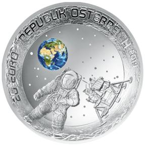 現貨 - 2019奧地利-登陸月球-50週年紀念-20.74克銀幣