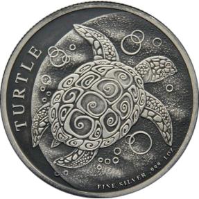 現貨 - 2014紐埃-玳瑁龜-1盎司銀幣-仿古版