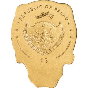 現貨 - 2019帛琉-骷髏系列-騎士骷髏-0.5克金幣