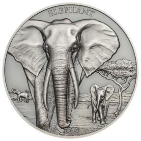 現貨 - 2016坦尚尼亞-大象-高浮雕1盎司銀幣