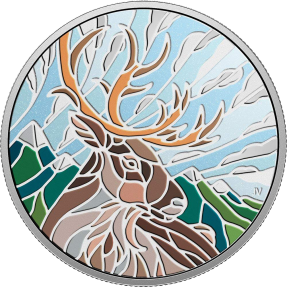 預購(限已確認者下單) - 2018加拿大-鑲嵌藝術系列-馴鹿-1盎司銀幣