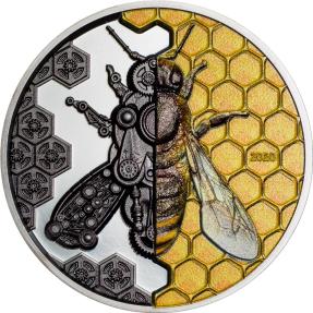 預購(確定有貨) - 2020蒙古-發條演進系列-機械蜜蜂-3盎司銀幣