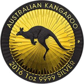現貨 - 2016澳洲伯斯-袋鼠(鍍釕鍍金)-金色的影子系列-1盎司銀幣