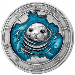 現貨 - 2020巴貝多-水下世界系列-斑海豹-3盎司銀幣