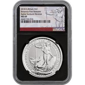 現貨 - 2018英國-不列顛-1盎司銀幣-NGC MS69鑑定幣-Fisrt Release版-不列顛標籤(黑底)