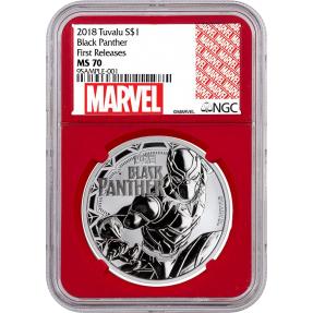 現貨 - 2018吐瓦魯-Marvel系列-黑豹-1盎司銀幣-NGC MS70鑑定幣-First Release版-紅底