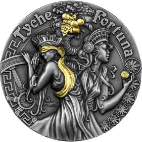 預購(確定有貨) - 2021紐埃-堅強美麗女神-福圖納和堤喀-2盎司銀幣