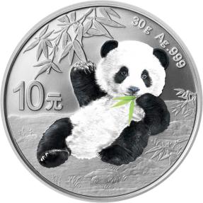現貨 - 2020中國-熊貓-夜光版-30克銀幣(表面漆突起)