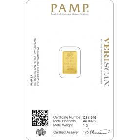現貨(全台最低價)(限量) - PAMP-財富女神-1克金條(贈絨布盒+提袋)