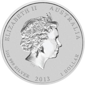 現貨 - 2013澳洲伯斯-生肖-蛇年-1盎司銀幣(普鑄)