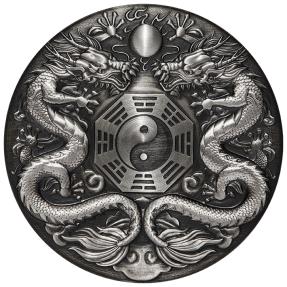 現貨 - 2019吐瓦魯-雙龍搶珠-陰陽八掛-2盎司銀幣(簽名版)(編號38)