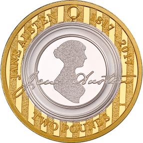 現貨 - 2017英國-簡·奧斯丁-持久的愛情-鍍金-11.1克銀幣