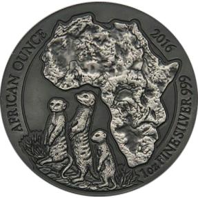 現貨 - 2016盧安達-狐獴-1盎司銀幣-仿古版