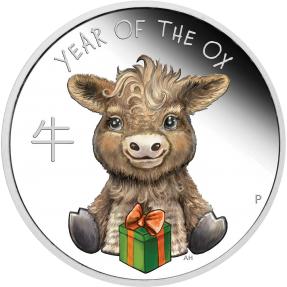 預購(限已確認者下單) - 2021吐瓦魯-生肖-寶貝牛-1/2盎司銀幣
