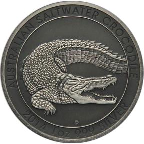 現貨 - 2014澳洲伯斯-鱷魚-1盎司銀幣-仿古版