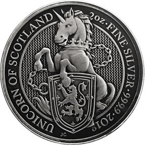 現貨 - 2018英國-皇后野獸系列-獨角獸-2盎司銀幣-仿古版