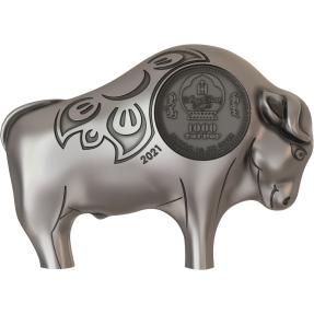 現貨 - 2021蒙古-生肖-牛年-造型-1盎司銀幣
