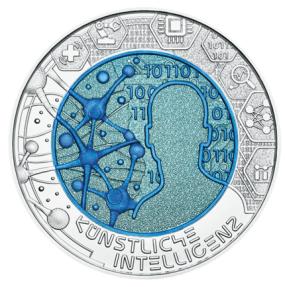 現貨 - 2019奧地利-鈮金屬系列-人工智能-16.5克銀幣(雙金屬)