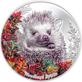 現貨 - 2021蒙古-迷人的林地精神系列-刺蝟-1盎司銀幣