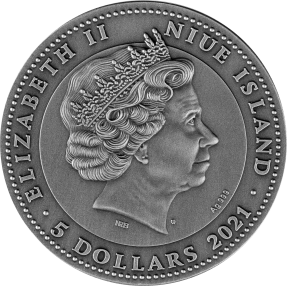 現貨 - 2021紐埃-關羽-碧玉珊瑚-2盎司銀幣