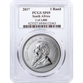 現貨 - 2017南非-克魯格-1盎司銀幣-PCGS SP69鑑定幣-前1000枚(羚羊紫外線顯示標籤)