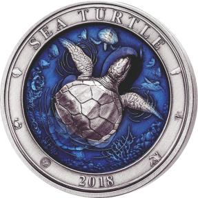 現貨  - 2018巴貝多-水下世界系列-海龜-3盎司銀幣