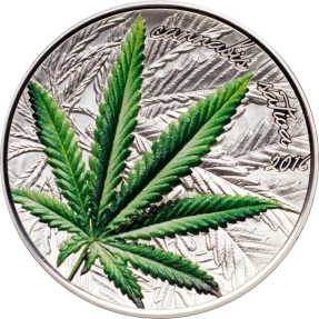 現貨 - 2016貝南-大麻苜蓿葉著名植物-大麻-1盎司銀幣