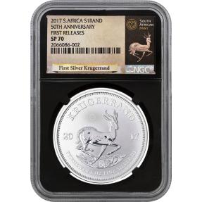 現貨 - 2017南非-克魯格-1盎司銀幣-NGC SP70鑑定幣-First Releases版(羚羊標籤-黑底)