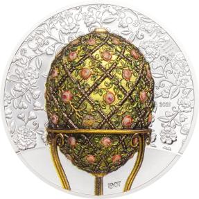 現貨 - 2021蒙古-玫瑰格子-法貝熱彩蛋-2盎司銀幣