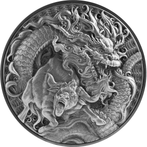 預購(確定有貨) - 2021托克勞-中國龍&牛-(2盎司銀+11.5盎司銅)銀幣