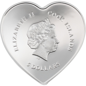 預購(確定有貨) - 2022庫克群島-銀心系列-燦爛的愛-心型-20克銀幣