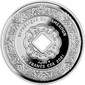 現貨 - 2021喀麥隆-捕夢網-銀幣吊飾-14.14克銀幣