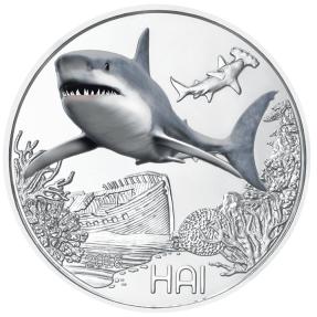 現貨 - 2018奧地利-多彩的生物系列-鯊魚-第七枚-16克硬幣(銅合金)