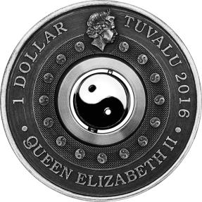 現貨 - 2016吐瓦魯-太極-陰陽-旋轉-1盎司銀幣