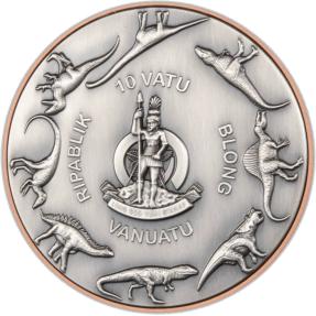 現貨 - 2022萬那杜-雙銀巨人系列-三角龍-(145克銅+2個5克銀)銀幣