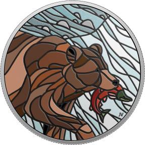 預購(限已確認者下單) - 2018加拿大-鑲嵌藝術系列-灰熊-1盎司銀幣