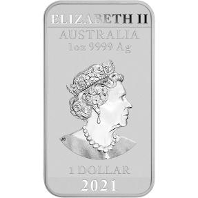 預購(確定有貨) - 2021澳洲伯斯-龍-1盎司銀條(普鑄)(含澳洲伯斯原廠銀條專用塑殼)