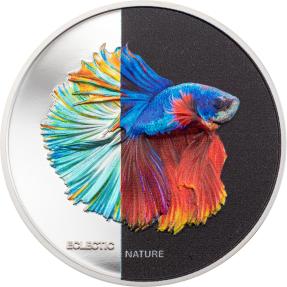 預購(確定有貨) - 2021庫克群島-不拘一格的自然系列-鬥魚-1盎司銀幣
