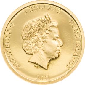 現貨 - 2021庫克群島-兵馬俑-0.5克金幣