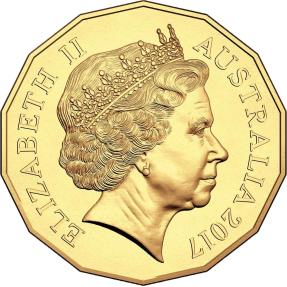 現貨 - 2017澳洲皇家-澳幣50分-雞年-鍍金硬幣-卡裝(非流通幣)