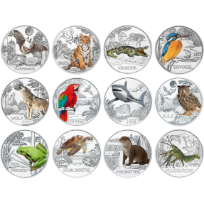 現貨 - 2016~2019奧地利-多彩的生物系列-16克硬幣(銅合金)(12枚組)(含專用塑殼)(含原廠收藏冊)