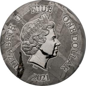 現貨 - 2021紐埃-俄羅斯隨城橄欖鎳鐵隕石-1盎司隕石幣