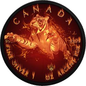 現貨 - 2017加拿大-楓葉-火焰野生動物系列-老虎-1盎司銀幣